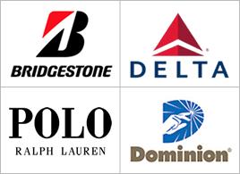 Bridgestone, Delta, Polo and Dominion logos