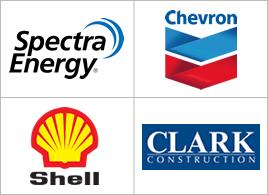 Spectra Energy, Chevron, Shell, and Clark Construction logos