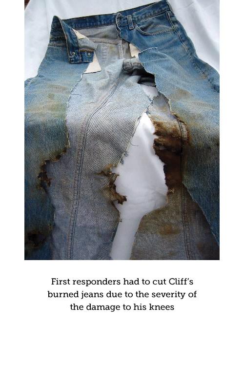 Cliff's burned blue jeans