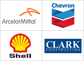 Logos: ArcelorMittal, Chevron,Shell, Clark Construction