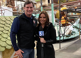 Cliff Meidl and KTLA's Erin Meyers - Rose Parade 2019