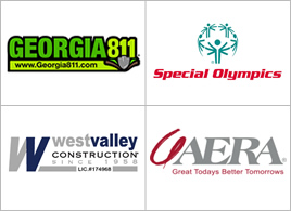 Logos: Georgia 811, Special Olympics, West Valley Construction, Aera Energy